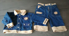 ROCABABY ROCAWEAR Boys 0-6 Months Denim Jacket Jeans Faux Seude 2 Piece Set