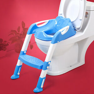 BABY TODDLER POTTY TRAINING TOILET SEAT & STEP LADDER LOO TRAINER SYSTEM -blue