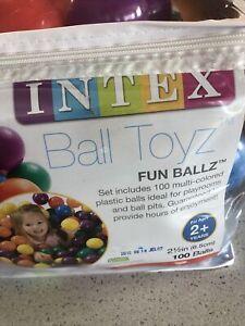 "100-Pack Intex Small Plastic Multi-Colored Fun 2.5"" Ballz For Ball Pit"
