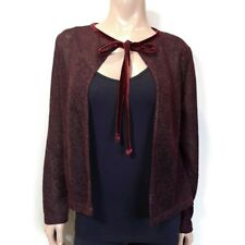Rampage USA Tie Front Knit Cardigan Womens Size Small Burgundy Wine Velvet Trim