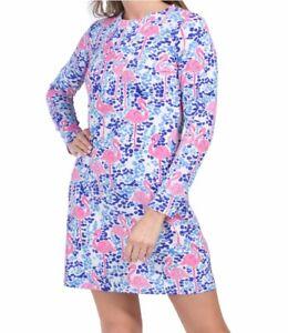 IBKUL Flamingo Zip Front Long Sleeve Crew Neck Dress Navy/Pink XS M L XL Golf
