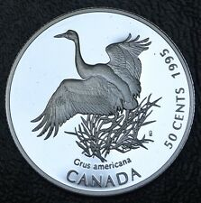 CANADIAN GEM 1995 - 50 CENTS -.925 SILVER - Whooping Crane - Ultra Heavy Cameo