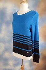 NEW TOMMY HILFIER Swedish blue cotton striped sweater SZ: M