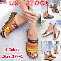 US Summer Womens Wedge Heel Slip On Summer Mules Sandals Slippers Shoes Size 6-9