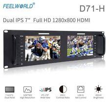 "Feelworld D71-H Dual 7"" 3RU IPS 1280 x 800 HDMI LCD Rack Mount Monitor Broadcast"