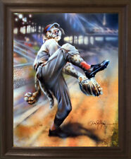 Dog Playing Old Time Baseball Motivational Sports Fine Art Framed Picture 19x23
