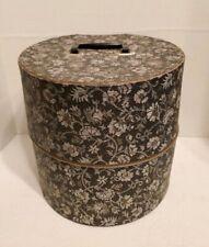 Mid Century Modern Vintage floral Vinyl Wig Hat Box Travel Case Zipper 50's 60's