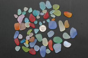 20 pieces flat sea beach glass slice lots mixed blue green red jewelry making