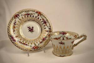 Antique Lamm Dresden Tea Cup & Saucer, Floral