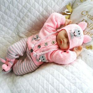 Baby Knitting Pattern dk Mouse Cardigan Reborn Doll 17-22 inch 0-3 Months Baby