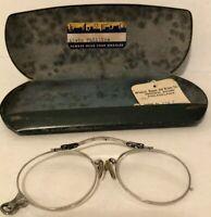 ANTIQUE T&P Oxford 12K GF Nose Pince Nez Glasses Spectacles w/ Metal Case Phila