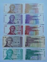 CROACIA Cinco billetes diferentes 1991. Plancha UNC.