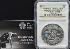 2009 plata Piedfort Olímpicos Cuenta Regresiva £ 5 cinco libras moneda de prueba de NGC PR70 u cameo