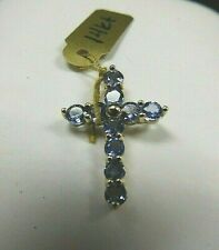Cross Pendant 14k Yellow Gold w/ Small Amethyst Stamped, 1.0 grams, NEW