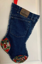 "20"" Wrangler Blue Jeans Denim Upcycled Rag Christmas Stocking Western Cowboy #4"