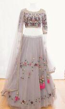 White Floral Print Lengha Designer Lehenga Choli Wedding Bridal Wear Sari  LM