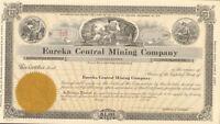 Eureka Central Mining Company Nevada stock certificate