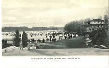 BUFFALO NY DELAWARE PARK LAKE SKATING c1905 NEAR MINT!