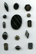 14 FANTASTIC BLACK GLASS buttons--ALL SHAPES--OVAL--HEX--DIAMOND--SPINDLE++++