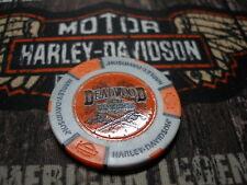 Grey & Orange Crossed Guns Poker Chip from Deadwood Harley Davidson Deadwood, SD