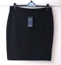 M&s Ladies Black Striped Mini Skirt With Stretch Elasticated Waist Size 16