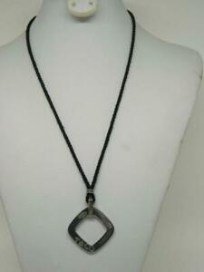 "Tiffany & Co Sterling 1837 Square Pendant  29"" Silk Chord Necklace"