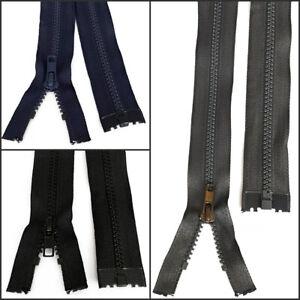 Black Navy Grey Chunky Zip No.5 Plastic Zipper Open End [ 9.8 - 39.3 inch ]