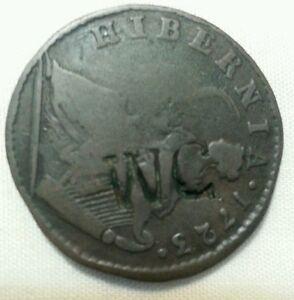 w c countermark host 1723 colonial wood's hibernia halfpenny coin