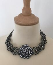 Akss London Floral Metal And Crystal Necklace, Excellent Condition