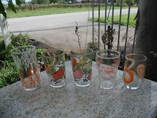 Vintage Lot of 5 Juice Drinking Glasses Clear Orange Mid Century Modern Glass