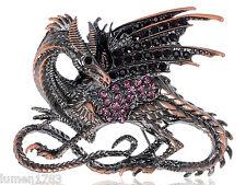 WINGED DRAGON MULTICOLORED RHINESTONE PIN BROOCH JEWEL GOOD FORTUNE GAME THRONES