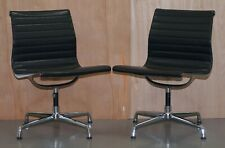 1 OF 2 RRP £3792 EA101 VITRA EAMES BLACK LEATHER OFFICE SWIVEL CONFERENCE CHAIRS