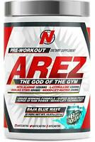 NTel Nutra AREZ God of The Gym Pre-Workout, Baja Blue Wave, 25 Serving