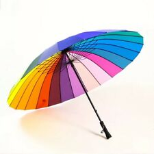 Large Bright Multi Color Rainbow Umbrella Unisex Parasol Wind Proof Auto Open AU