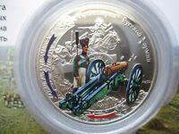 2012 Niue Large Proof Color Silver $1 Russia war 1812 Napoleon Artillery Holder