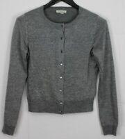NEW YORK & COMPANY Medium Women's Sweater Button Up Cardigan Silver Metallic