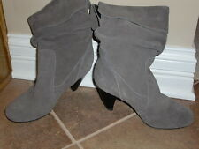 "Women's""MERIPE""Jullian Taupe Leather/Suede Mid Calf Heels Boots size 8.5M CUTE!"
