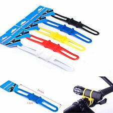 2pcs Bike Cycling Bicycle Rubber Band Rope For Torch Headlight Flashlight Black