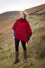 Irish Red 100% Merino Wool Aran Ladies Poncho Cape A453  262 Carraig Donn