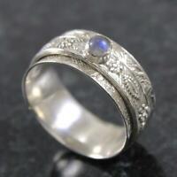 Solid 925 Sterling Silver Spinner Ring Moonstone Gemstone Meditation Ring A27