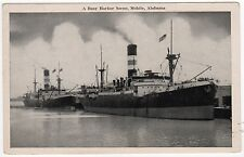 MOBILE ALABAMA PC Postcard BUSY HARBOR SCENE Ships BOATS Carter's News Agency