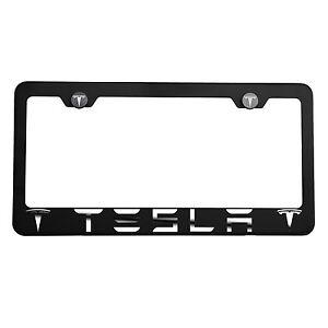Matte Black Laser Etched Tesla Mirror License Plate Frame Cover Holder Screw Cap
