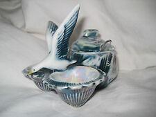 Salière Poivrière Moutardier en porcelaine de France motif oiseau couleur bleuté