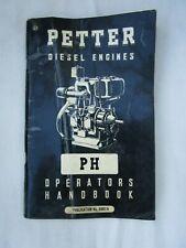 PETTER DIESEL ENGINES TYPE PH OPERATORS HANDBOOK 1960