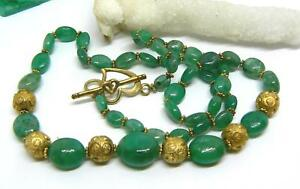 "RARE NATURAL GREEN EMERALD BEADS 22kt VERMEIL NECKLACE 19"" 135cts"