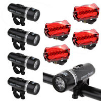4PCS Waterproof Bright 5 LED Bike Bicycle Cycle Front and Rear Back Tail Lights