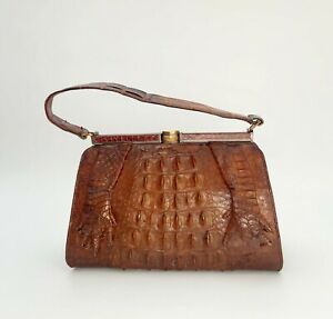 Vintage real ostrich leather classic 1950s handbag, Made in England