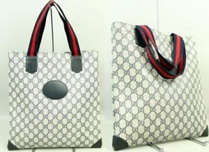 Vtg GUCCI Italy Blue Signature Monogram Canvas Handbag Tote Shopper Shoulder Bag