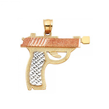 14K Solid Yellow White Rose Gold Pistol Gun Pendant Hand Necklace Charm Men Womn