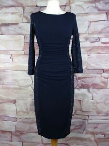 PHASE EIGHT navy blue stretch rouched dress lace panels size 10